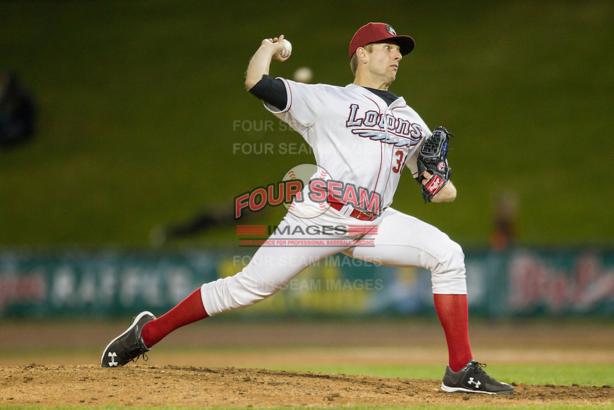 Great Lakes Loons pitcher Adam Bray (36) delivers a pitch to the plate against the South Bend Cubs on May 18, 2016 at Dow Diamond in Midland, Michigan. Great Lakes defeated South Bend 5-4. (Andrew Woolley/Four Seam Images)