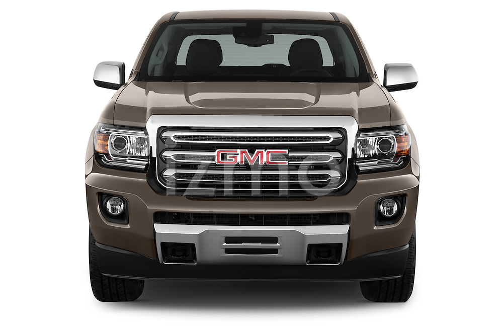 Car photography straight front view of a 2015 GMC Canyon SLT Crew Cab SWB 4 Door Truck Front View