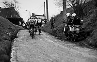 the front group over the Ruiterstraat cobbles<br /> <br /> 75th Omloop Het Nieuwsblad 2020 (1.UWT)<br /> Gent to Ninove (BEL): 200km<br /> <br /> ©kramon