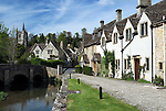Great Britain, England, Wiltshire, Castle Combe: Cotswold village by stream