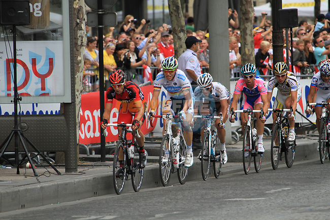 The breakaway group, led by Karsten Kroon (NED) BMC Racing Team and Christian Knees (GER) Team Milram, on the Champs-Elysees during the final Stage 20 of the 2010 Tour de France running 102.5km from Longjumeau to Paris Champs-Elysees, France. 25th July 2010.<br /> (Photo by Eoin Clarke/NEWSFILE).<br /> All photos usage must carry mandatory copyright credit (© NEWSFILE | Eoin Clarke)