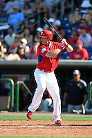 Philadelphia Phillies outfielder Brian Bogusevic (17) during an exhibition game against the University of Tampa on March 1, 2015 at Bright House Field in Clearwater, Florida.  University of Tampa defeated Philadelphia 6-2.  (Mike Janes/Four Seam Images)