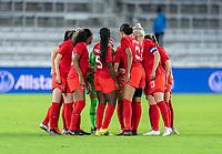ORLANDO, FL - FEBRUARY 21: Canada huddles during a game between Canada and Argentina at Exploria Stadium on February 21, 2021 in Orlando, Florida.