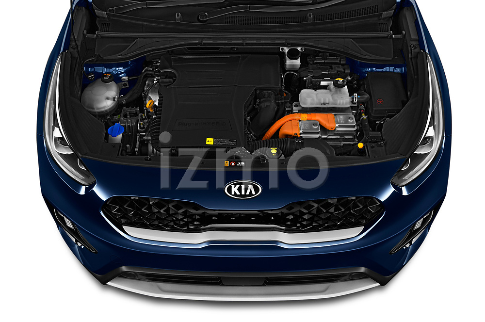 Car Stock 2020 KIA Niro-Plug-In-Hybrid EX-Premium 5 Door Hatchback Engine  high angle detail view