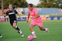 Casey Nogueira (27) of Sky Blue FC is defended by Brittany Bock (21) of the Western New York Flash. The Western New York Flash defeated Sky Blue FC 2-0 during a Women's Professional Soccer (WPS) match at Yurcak Field in Piscataway, NJ, on July 17, 2011.