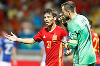 Spain's David Silva (l) and Liechtenstein's Peter Jehle have words during FIFA World Cup 2018 Qualifying Round match. September 5,2016.(ALTERPHOTOS/Acero) /NORTEPHOTO
