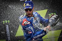 27th September 2020, Circuit de Barcelona Catalunya, Barcelona, MotoGp of Catalunya, Race Day;  Joan Mir ESP celebrates on the podium
