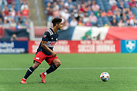 FOXBOROUGH, MA - JULY 25: Brando Bye #15 of New England Revolution looks to pass during a game between CF Montreal and New England Revolution at Gillette Stadium on July 25, 2021 in Foxborough, Massachusetts.