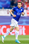 Jamie Vardy of Leicester City in action during their 2016-17 UEFA Champions League Quarter-Finals 1st leg match between Atletico de Madrid and Leicester City at the Estadio Vicente Calderon on 12 April 2017 in Madrid, Spain. Photo by Diego Gonzalez Souto / Power Sport Images