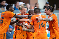SAN JOSE, CA - JULY 24: Matias Vera #22 of the Houston Dynamo celebrates his goal with teammates during a game between San Jose Earthquakes and Houston Dynamo at PayPal Park on July 24, 2021 in San Jose, California.