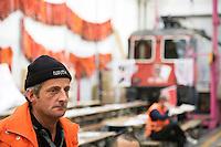 Switzerland. Canton Ticino. Bellinzona. Officine FFS. Stabilimento Industriale SBB CFF FFS Cargo. Claudio Gennari witha levis hat. Railway workers on strike. Building's occupation. Locomotive. © 2008 Didier Ruef