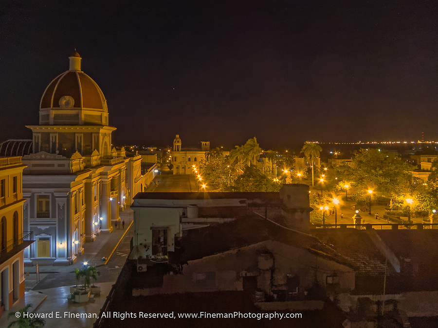 Cienfuegos main plaza at night