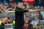 FC Barcelona's coach Luis Enrique Martinez shouts instructions from the sideline during the match of Copa del Rey between Atletico de  Madrid and Futbol Club Barcelona at Vicente Calderon Stadium in Madrid, Spain. February 1st 2017. (ALTERPHOTOS/Rodrigo Jimenez)