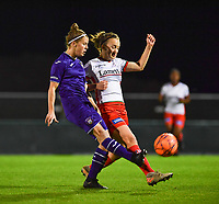 Laura Deloose (14) of Anderlecht pictured with Geena Lisa Buyle (13) of Zulte-Waregem during a female soccer game between RSC Anderlecht Dames and SV Zulte Waregem on the 10 th matchday of the 2020 - 2021 season of Belgian Womens Super League , friday 18 th of December 2020  in Tubize , Belgium . PHOTO SPORTPIX.BE | SPP | DAVID CATRY