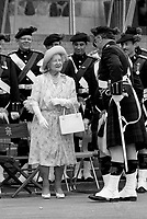 June  1987 File Photo - The Queen Mother  inspect the blackwatch ; her regiment, on their 125th anniversary.