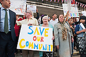 Residents of West Kensington and Gibbs Green estates in West London demonstrate outside Hammersmith Town Hall against council plans to sell the estates to private developer Capco.