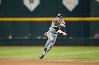 Vanderbilt Commodores shortstop Dansby Swanson (7) makes an off balance throw to first base during the NCAA College baseball World Series against the TCU Horned Frogs on June 16, 2015 at TD Ameritrade Park in Omaha, Nebraska. Vanderbilt defeated TCU 1-0. (Andrew Woolley/Four Seam Images)