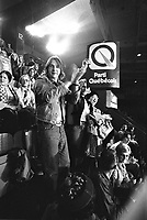 Rene Levesques et le PQ remportent l'election du 15 novembre 1976 au Centre Paul-Sauve.<br /> <br /> <br /> PHOTO : Agence Quebec Presse - Pierre Groulx