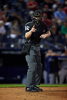 Umpire Thomas Roche calls a strike during an Eastern League game between the Trenton Thunder and Reading Fightin Phils on August 16, 2019 at FirstEnergy Stadium in Reading, Pennsylvania.  Trenton defeated Reading 7-5.  (Mike Janes/Four Seam Images)