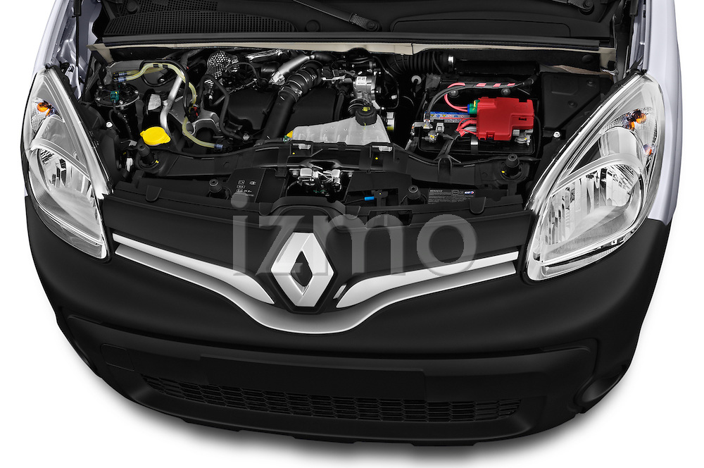 High angle engine detail of a 2013 - 2014 Renault Kangoo Express Maxi 5 Door Mini Mpv.