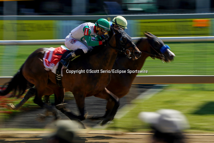 May 15, 2021: The King Cheek, #1, ridden by jockey Jaime Rodriguez, wins the Sir Barton Stakes on Preakness Stakes Day at Pimlico Race Course in Baltimore, Maryland. Scott Serio/Eclipse Sportswire/CSM