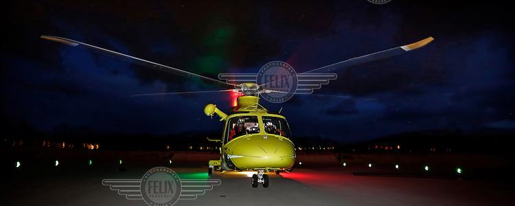 Air Ambulance crew from Lufttransport at their base in Ålesund. Agusta Westland AW139