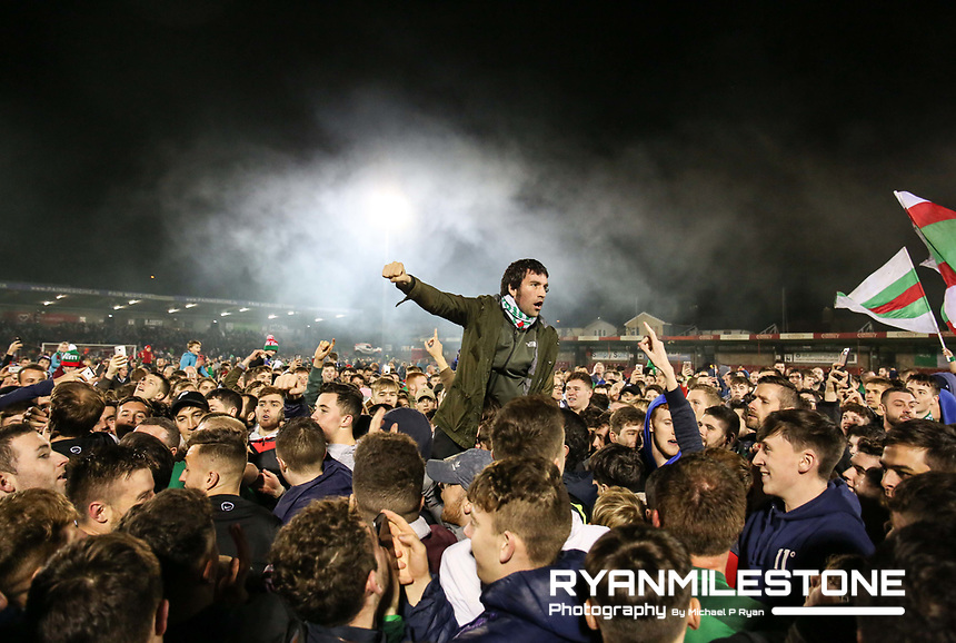 2017 SSE Airtricity League Premier Division,<br /> Cork City vs Derry City,<br /> Tuesday 17th October 2017,<br /> Turners Cross, Cork.<br /> Cork City fans celebrates on the field at the end of the game<br /> Photo By: Michael P Ryan