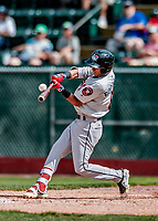 3 September 2018: Tri-City ValleyCats outfielder Ramiro Rodriguez connects against the Vermont Lake Monsters at Centennial Field in Burlington, Vermont. The Lake Monsters defeated the ValleyCats 9-6 in the last game of the 2018 NY Penn League regular season. Mandatory Credit: Ed Wolfstein Photo *** RAW (NEF) Image File Available ***