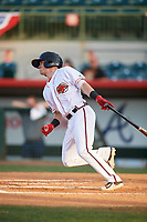 Florida Fire Frogs second baseman Marcus Mooney (11) follows through on a swing during a game against the Palm Beach Cardinals on May 1, 2018 at Osceola County Stadium in Kissimmee, Florida.  Florida defeated Palm Beach 3-2.  (Mike Janes/Four Seam Images)