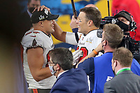 7th February 2021, Tampa Bay, Florida, USA;  Rob Gronkowski (87) and Tom Brady (12) of the Buccaneers are all smiles after the Super Bowl LV game between the Kansas City Chiefs and the Tampa Bay Buccaneers on February 7, 2021 at Raymond James Stadium