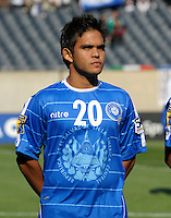 El Salvador's Andres Flores lines up for the national anthem.  El Salvador defeated Cuba 6-1 at the 2011 CONCACAF Gold Cup at Soldier Field in Chicago, IL on June 12, 2011.