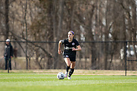 LOUISVILLE, KY - MARCH 13: Emily Fox #11 of Racing Louisville FC drives the ball up the field during a game between West Virginia University and Racing Louisville FC at Thurman Hutchins Park on March 13, 2021 in Louisville, Kentucky.