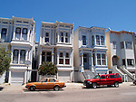 ROW of VICTORIAN HOMES UNIQUE for its (colorful)COLOURFUL,PASTEL EXTERIORS,and TYPICALLY SEEN in SAN FRANCISCO, CALIFORNIA (2)<br />