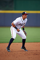 Mississippi Braves third baseman Rio Ruiz (5) during a game against the Pensacola Blue Wahoos on May 27, 2015 at Trustmark Park in Pearl, Mississippi.  Pensacola defeated Mississippi 7-5 in fourteen innings.  (Mike Janes/Four Seam Images)