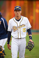 Montgomery Biscuits outfielder Tyler Goeddel (15) before a game against the Jackson Generals on April 29, 2015 at Riverwalk Stadium in Montgomery, Alabama.  Jackson defeated Montgomery 4-3.  (Mike Janes/Four Seam Images)