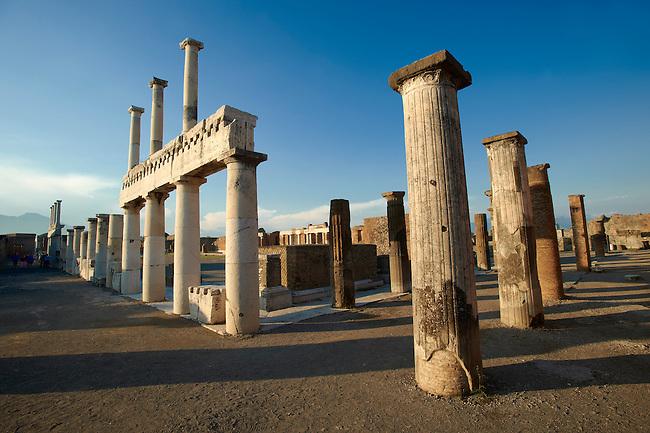 Doric & Corinthian columns of the Roman colonade in the Forum of Pompeii.