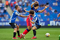 12th September 2021: Barcelona, Spain:  Joao Felix of Atletico de Madrid is blocked out of the play during the Liga match between RCD Espanyol and Atletico de Madrid at RCDE Stadium in Cornella, Spain.