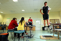 Pictured: Swansea goalkeeper Dorus de Vries (R) gets tested by Sports Science students.<br />