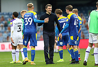 Sam Ricketts manager of Shrewsbury Town shakes hands with Joe Pigott of AFC Wimbledon during AFC Wimbledon vs Shrewsbury Town, Sky Bet EFL League 1 Football at The Kiyan Prince Foundation Stadium on 17th October 2020