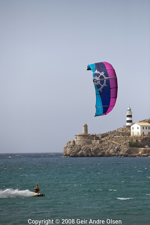 Man kiteing at Port Soller at Majorca, Spain, in strong wind