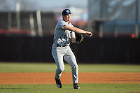 Catawba Indians second baseman Kyle Smith (24) makes a throw to home plate during infield practice prior to the game against the Belmont Abbey Crusaders at Abbey Yard on February 7, 2017 in Belmont, North Carolina.  The Crusaders defeated the Indians 12-9.  (Brian Westerholt/Four Seam Images)