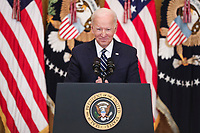 President Joe Biden speaks during the first formal press conference of his presidency in the East Room of the White House in Washington, D.C. on Thursday, March 25, 2021.<br /> CAP/MPI/RS<br /> ©RS/MPI/Capital Pictures