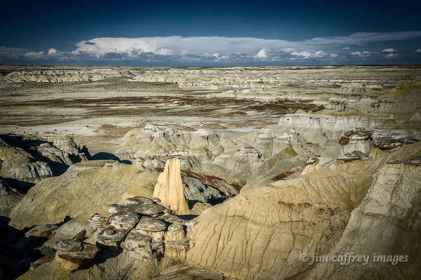 A yellow hoodoo takes center stage among hundreds of others along the southern edge of Ah Shi Sle Pah Wash in New Mexico's San Juan Basin.