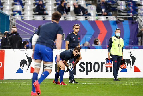 31st October 2020; Stade de France, Paris, France; Six Nations Rugby International, France versus Ireland;  Fabien Galthie ( entraineur France ) during pre-game warm-up Antoine Dupont ( 9 - France ) -