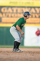 Tyler Moore (2) of the Savannah Sand Gnats takes his lead off of second base against the Hickory Crawdads at L.P. Frans Stadium on June 14, 2015 in Hickory, North Carolina.  The Crawdads defeated the Sand Gnats 8-1.  (Brian Westerholt/Four Seam Images)