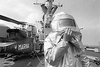 - Italian Navy, Vittorio Veneto cruiser, flight deck, fire safety personnel (May 1984)<br /> <br /> - Marina Militare Italiana, incrociatore Vittorio Veneto, ponte di volo, personale di sicurezza antincendi (Maggio 1984)