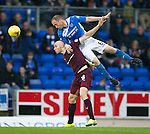 St Johnstone v Hearts…10.08.16..  McDiarmid Park…BetFred Cup<br />Steven Anderson gets above Conor Sammon<br />Picture by Graeme Hart.<br />Copyright Perthshire Picture Agency<br />Tel: 01738 623350  Mobile: 07990 594431