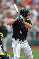 Texas Tech Red Raiders third baseman Dru Baker (4) at bat during Game 1 of the NCAA College World Series against the Michigan Wolverines on June 15, 2019 at TD Ameritrade Park in Omaha, Nebraska. Michigan defeated Texas Tech 5-3. (Andrew Woolley/Four Seam Images)