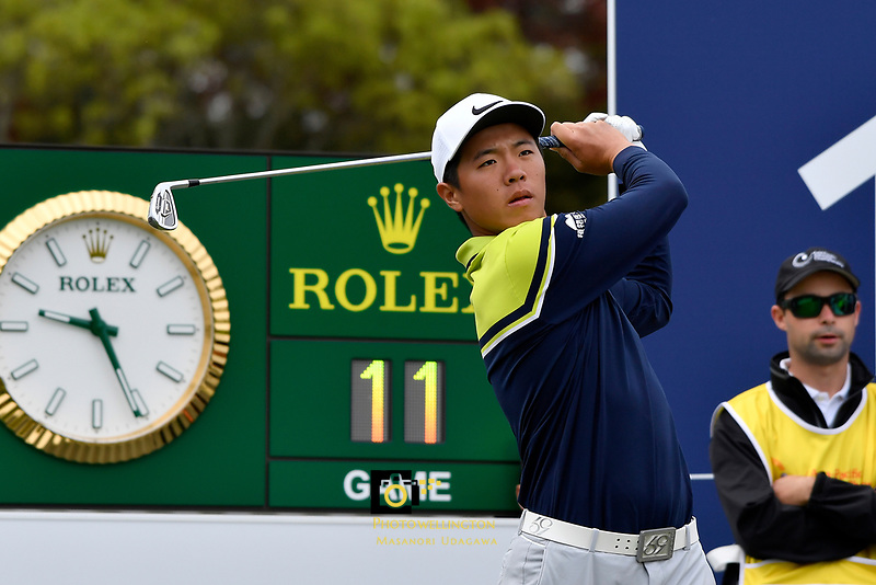 Andy Zhang (China) in action during the Asia- Pacific Amateur Championship at Royal Wellington Golf Club, Wellington, New Zealand on Sunday 29 October.<br /> Photo by Masanori Udagawa. <br /> www.photowellington.photoshelter.com