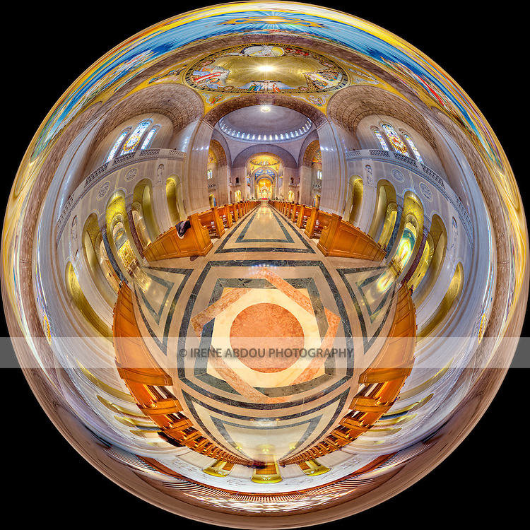 """360-degree high dynamic range """"little planet"""" panorama of the awesome interior of the Basilica of the National Shrine of the Immaculate Conception in Washington, DC.  Built on land donated by the Catholic University of America, the Basilica of the National Shrine of the Immaculate Conception is North America's largest Roman Catholic church and 10th largest church in the world."""